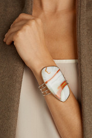 Melissa Joy Manning 14-karat gold, sterling silver and glass cuff