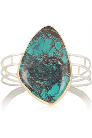 Melissa Joy Manning 14-karat gold, sterling silver and turquoise cuff