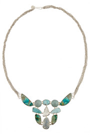Melissa Joy Manning 14-karat gold and sterling silver multi-stone necklace