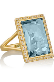 Gelato 18-karat gold, topaz and diamond ring