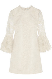 Saint Laurent Guipure lace and silk-faille mini dress