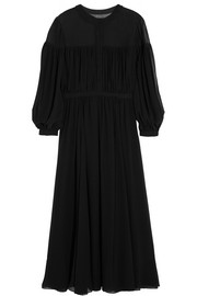 Saint Laurent Silk-georgette midi dress