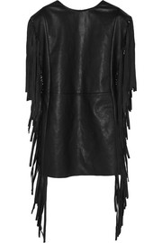 Fringed leather mini dress