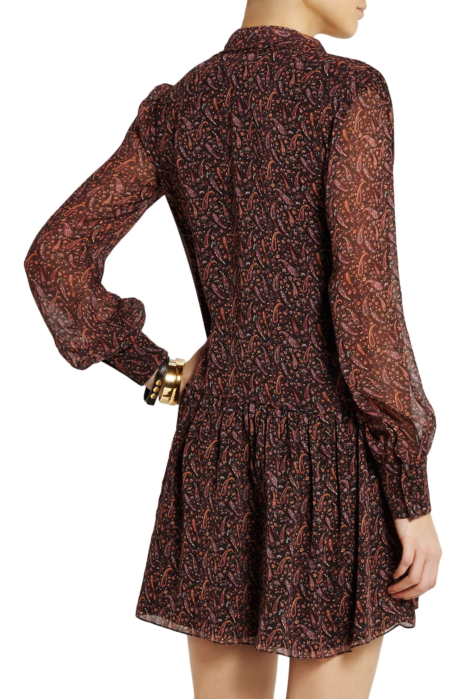 SAINT LAURENT Printed silk-georgette mini dress