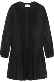 Saint Laurent Broderie anglaise-paneled cotton-voile mini dress