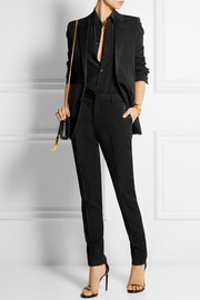Saint Laurent Satin-trimmed wool-crepe tuxedo jacket