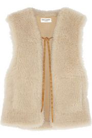 Leather-trimmed shearling gilet