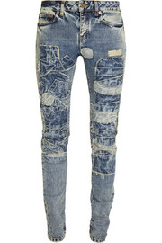 Saint Laurent Patchwork low-rise skinny jeans