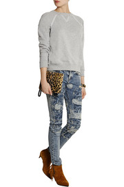 Patchwork low-rise skinny jeans