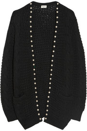 Studded wool and cotton-blend cardigan