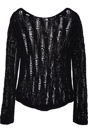 Saint Laurent Open-knit cotton-blend sweater