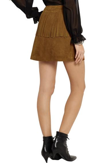 2610d43f5e5 SAINT LAURENT | Fringed suede mini skirt | NET-A-PORTER.COM