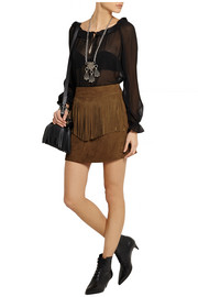 Saint Laurent Fringed suede mini skirt