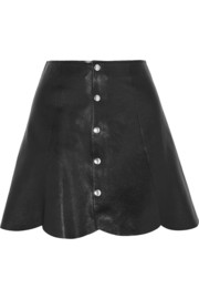 Scalloped leather mini skirt