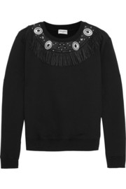 Leather-fringed cotton-jersey sweatshirt