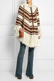 Hooded chunky-knit wool poncho