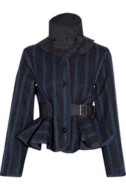 Sacai Luck gabardine-trimmed tweed jacket