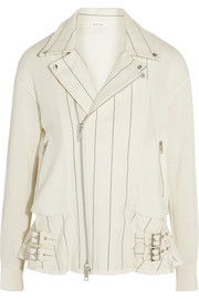 Twill-paneled knitted cotton-blend biker jacket