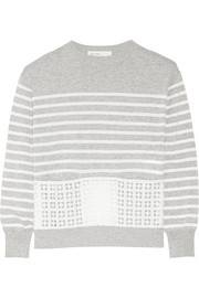 Sacai Luck lace-paneled cotton sweater