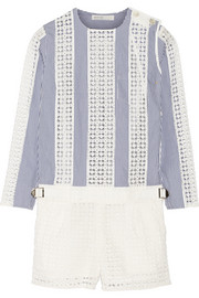 Sacai Luck paneled pinstriped and eyelet-cotton playsuit