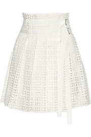 Sacai Luck pleated cotton-lace wrap mini skirt