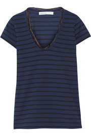 Sacai Luck chiffon-trimmed cotton-jersey T-shirt