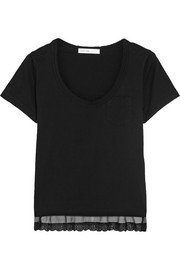Sacai Luck lace-trimmed cotton-jersey T-shirt