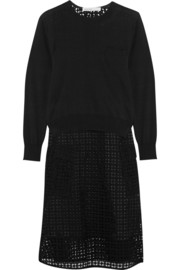 Sacai Luck fine-knit cotton and crocheted lace dress