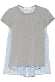 Sacai Sacai Luck cotton-jersey and lace T-shirt