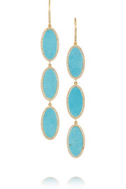 18-karat gold, turquoise and diamond drop earrings