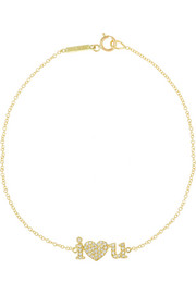 I Heart You 18-karat gold diamond bracelet