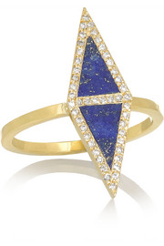 18-karat gold, lapis lazuli and diamond ring