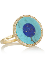 Evil Eye 18-karat gold turquoise, lapis lazuli and diamond ring