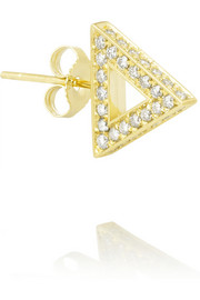 18-karat gold diamond triangle earring