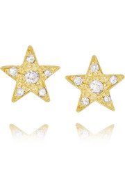 18-karat gold diamond star earrings