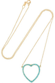 18-karat gold turquoise heart necklace