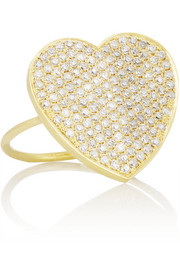 18-karat gold diamond heart ring