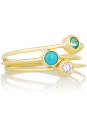 Set of three 18-karat gold, diamond, emerald and turquoise rings