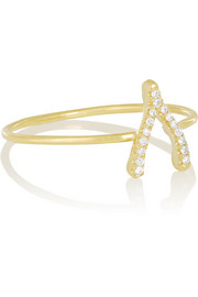 18-karat gold diamond wishbone ring