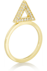 18-karat gold diamond triangle ring