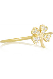 18-karat gold diamond four-leaf clover ring
