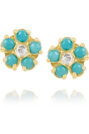 18-karat gold, turquoise and diamond flower earrings