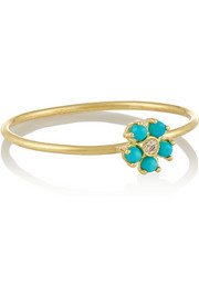 18-karat gold, turquoise and diamond flower ring