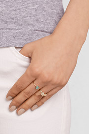 Jennifer Meyer 18-karat gold, turquoise and diamond flower ring