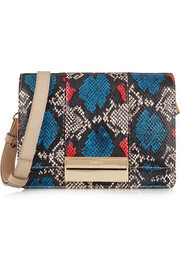 Kristen small python-print leather shoulder bag