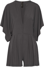 Rectangle pleated jersey playsuit