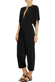 Norma Kamali Plunge-front jersey jumpsuit