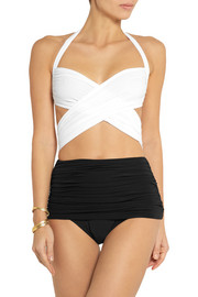 Norma Kamali XO Bill Mio ruched halterneck swimsuit