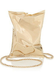 Crisp Packet gold-tone clutch