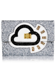Anya Hindmarch Valorie glitter-finished canvas clutch